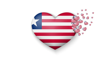 National flag of Liberia in heart illustration. With love to Liberia country. The national flag of Liberia fly out small hearts on white background