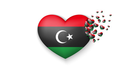 National flag of Libya in heart illustration. With love to Libya country. The national flag of Libya fly out small hearts on white background