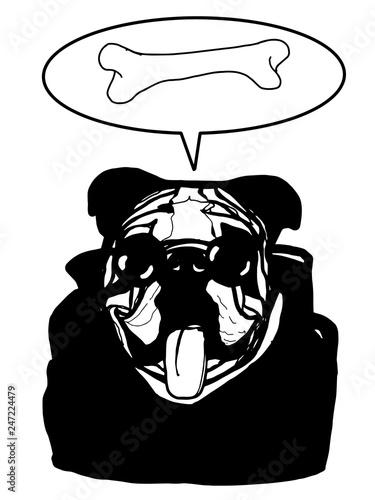 3255b2381e75 cartoon bulldog characters big tongue out illustration black jacket and sun  glasses bone and speech bubble black white colors