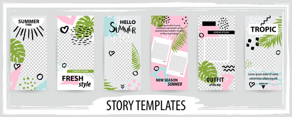 Trendy editable template for social topical networks stories, vector illustration.