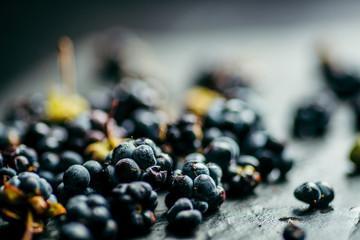blackberry berries dark blue on black stone background