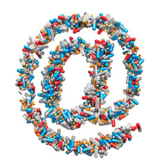At sign, e-mail symbol from medicine pills, capsules, tablets. Ordering Drugs Online concept. 3D rendering