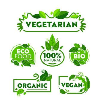 Green Eco Vegetarian Organic Food Icon Banner Set