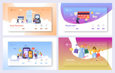 Online Shopping Payment Transaction Landing Page Set. Internet E-commerce Store Sale Technology. Marketing Retail Commerce Banking Concept Website or Web Page. Flat Cartoon Vector Illustration