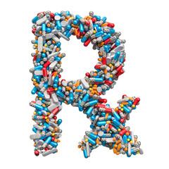 RX prescription medicine symbol, 3D rendering