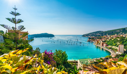 Foto op Plexiglas Nice Aerial view of French Riviera coast with medieval town Villefranche sur Mer, Nice region, France