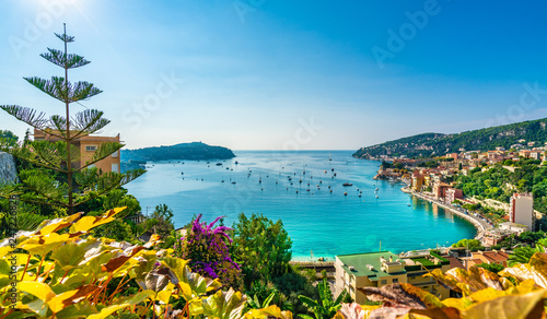 Wall mural Aerial view of French Riviera coast with medieval town Villefranche sur Mer, Nice region, France