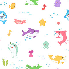 Kawaii Shark Seamless Pattern. Cute Funny Fish Nautical Background with Sea Creatures and Marine Life for Wallpaper, Decoration. Vector illustration
