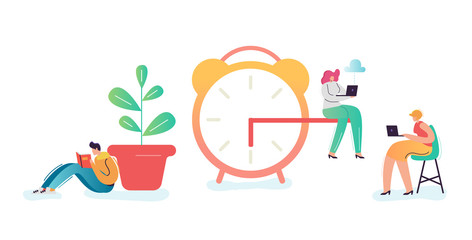 Business Deadline Concept. Businessman and Businesswoman Characters Overtime at Work. Time Management, Work Late, Efficiency. Vector illustration