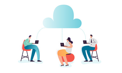 Cloud Computing Technology. Cartoon Characters with Laptop and Mobile Devices Using Cloud Data Storage for Social Media Networking. Vector illustration