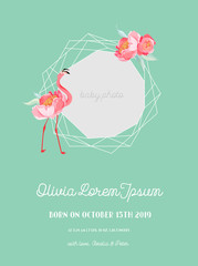 Baby Arrival Announcement with Illustration of Beautiful Flamingo and Geometry photo frame, Greetings or Invitation Card, Geometric Floral Frame in vector