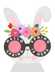 Hello Spring Card with Cute Bunny in Eyeglasses and Flowers. Easter Season Floral Poster Banner Placard with Funny Rabbit. Vector illustration