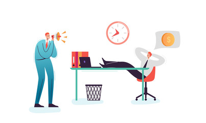 Lazy Businessman Sleeping at Work Office. Exhausted Man Character Relaxing Behind his Desk. Angry Boss Shouting with Megaphone. Vector illustration