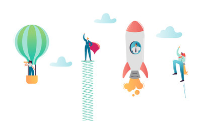 Business People Characters Flying in Air Balloon and Rocket. Super Businessman, Man in Red Cape Career Growth. Solution and Innovation Concept. Vector illustration