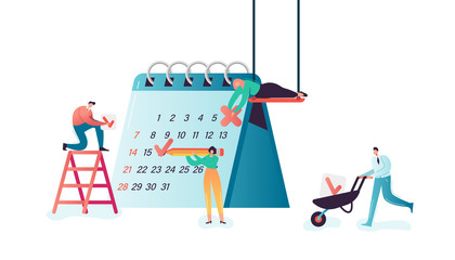 Business People Working Together Scheduling and Planning. Businessman and Businesswoman Teamwork with Calendar. Schedule Planner Concept. Vector illustration