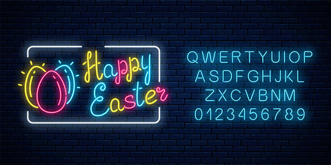 Glowing neon happy easter signboard with eggs and alphabet. Easter funny greeting banner.