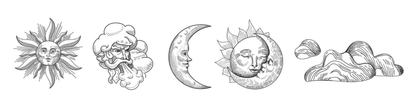 Sun and Moon Vintage Collection. Oriental Style Design with Stars and Celestial Astrological Symbols for Fabric, Wallpaper, Decoration. Vector illustration