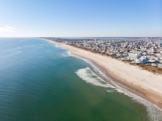 Aerial View of Beautiful Water and Shoreline of Atlantic Beach, North Carolina