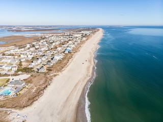 Aerial View of Beautiful Water and Shoreline of Atlantic Beach, North Carolina Wall mural