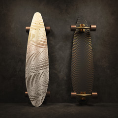 Skateboard with a white and black coloring. Longboard with gold pattern. 3D illustration