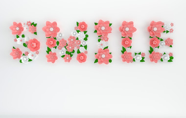 3d render text Smile made of paper flowers