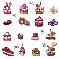 Cakes, cakes, baskets, desserts, sweets, souffles, klabnika and shokalad, muffins on a white background