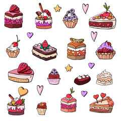 Cakes, cakes, baskets, desserts, sweets, souffles, shokalad, muffins on a white background
