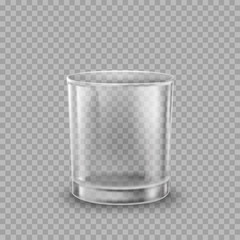 Glass isolated on transparent background. Vector empty drinking cup mockup.