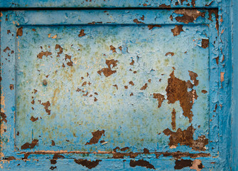 Old blue grunge cracked background with frame