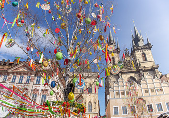 Easter tree on at Old Town Square in Prague, Czech republic.