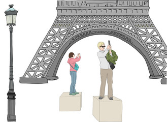 Hand drawn illustration. Cute scene in Paris. Tourists stand on boxes to take photos of the Eiffel Tower.