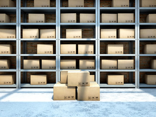 Warehouse with boxes on racks