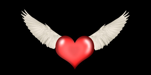 heart with wings on a black background