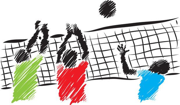 volleyball players brush illustration