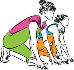 women runners starting race illustration