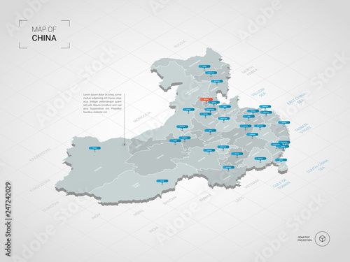 Isometric 3D China map. Stylized vector map illustration with cities on
