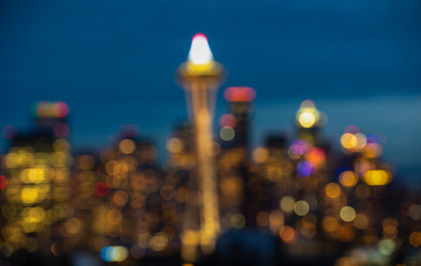 Fototapete - seattle city scape with traffic light from highway at night time,Washington,usa. -blured.