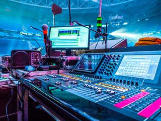 Sound console. Mixer. Show Business. Equipment for recording sound. Musical equipment. Concert organization. Microphone.