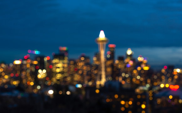 seattle city scape with traffic light from highway at night time,Washington,usa. -blured.