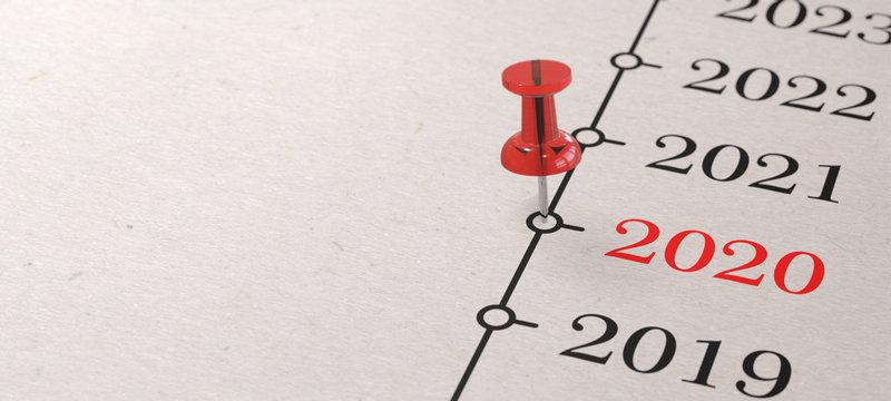 2020 - Rote Pinnadel auf Zeitleiste