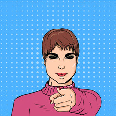 girl pointing finger forward, hand forward. the background of the style of pop art
