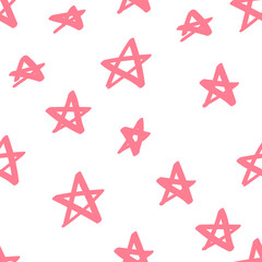 Cute colorful pink star seamless pattern on white. Funny festive background, wrapping paper. Vector illustration.