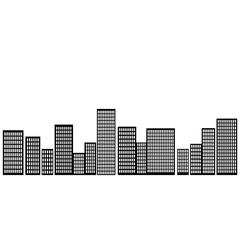 Vector city silhouette with windows. Vector Illustration. City silhouette vector. City silhouette. Building vector. Building icon.