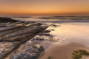 Beach Seascape and Rock Ledge in Soft Shades of Brown