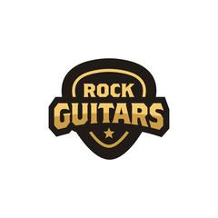 Guitar Pick Emblem Badge logo design
