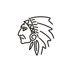 Native American Chief illustration / logo with mono line style