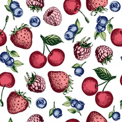 Seamless pattern with strawberries, raspberries, blueberries and cherries. Hand drawn vector on white background.