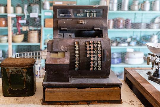 very old antique cash register.
