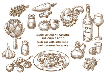 Mediterranean cuisine. Octopus with artichoke and tomato-mint sauce. Sketch