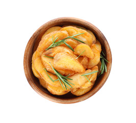 Baked potatoes with rosemary in bowl on white background, top view